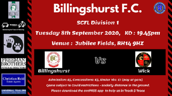 Information regarding football match at Jubilee Fields for Tuesday 8 September
