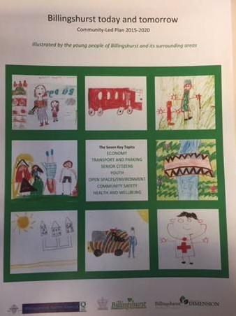billinghurst today and tomorrow cover with 8 pictures drawn by children of the community